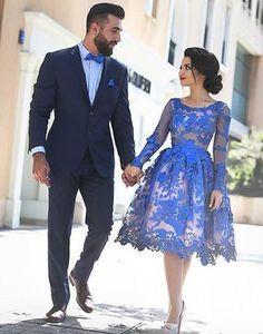 lace homecoming dress, short homecoming dress, royal blue prom dress, cheap homecoming dress, long sleeves homecoming dress, BD39758
