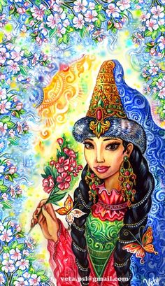 Kazakh girl- painting by .....