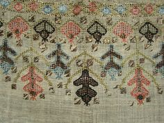 ANTIQUE MID 19th CENTURY OTTOMAN TURKISH SILK & METALLIC EMBROIDERED LINEN TOWEL