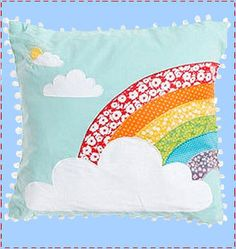 #rainbow pillow. What a lovely idea! How cute would this look on a little girls bed! You could use fabric from old dresses or clothes. I am so doing this!!