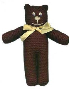 Free knitting pattern for a simple teddy bear that can be knit with any yarn and appropriate needles. A great project for kids and beginners. Teddy Bear Patterns Free, Teddy Bear Knitting Pattern, Knitted Teddy Bear, Knitting Patterns Free, Teddy Bears, Free Pattern, Baby Patterns, Knit Patterns, Sock Animals