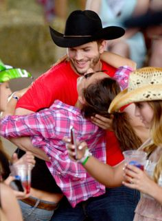 Ashton Kutcher and Mila Kunis at Stagecoach
