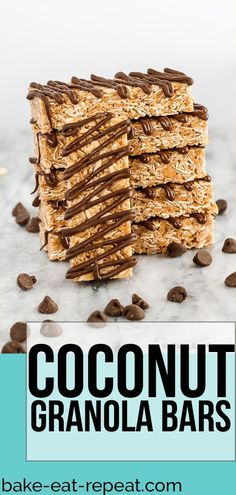 These homemade chewy coconut granola bars are quick and easy to make and are per. - These homemade chewy coconut granola bars are quick and easy to make and are perfect to have on han - Vegan Granola Bars, Oatmeal Bars Healthy, Healthy Granola Bars, Coconut Oatmeal, Healthy Snacks, Coconut Recipes Healthy, Homemade Oatmeal Bars, Homemade Breakfast Bars, Granola Bar Recipe Easy