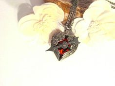 Steampunk Jewelry Ruby heart vintage style by ChristinaireDesigns, $35.00