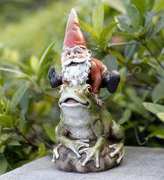 Gnome and Frog Funny Garden Gnomes, Gnome Garden, Lawn And Garden, Garden Art, Garden Ideas, Garden Statues, Garden Sculpture, Gnomes Book, Gnome Village
