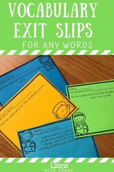 Vocabulary Exit Tickets to Use with any Vocabulary Words Vocabulary Instruction, Vocabulary Words, Fourth Grade, Third Grade, Classroom Routines, Exit Slips, Exit Tickets, Context Clues, Any Book