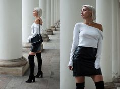 Get this look: http://lb.nu/look/8442495  More looks by MONIKA S: http://lb.nu/mxagnes  Items in this look:  Crystal Choker, Cropped Open Back Sweater, Coated Leather Mini Skirt, Overknee Thigh Boots, Furry Bag With Chain   #chic #classic #minimal