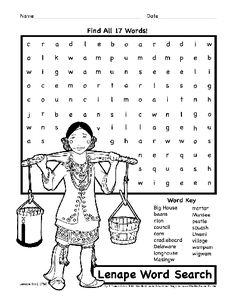 native american activity sheets for kids | Lenape Delaware Activity Coloring Page Worksheet Native American