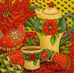 """Poinsettia Time"" a winter still life in ink and colored pencil by Shelly Bedsaul"