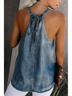 Classy Off-Shoulder Denim Halter Vest SKU Brand Name Mattecoco Collar type A collar Material denim embellishment Loose-Fitting Occasion Date type A base coat More [. Denim Fashion, Fashion Outfits, Fashion Ideas, Womens Fashion, Kleidung Design, Mode Hippie, Mode Jeans, Denim Ideas, Denim Crafts