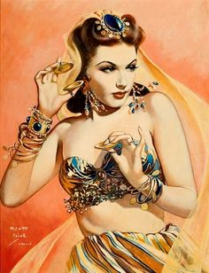 Belly dancer illustration by Henry Clive