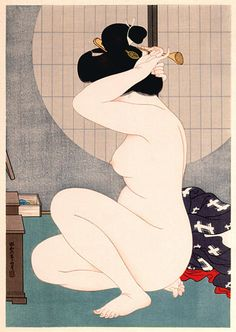 A woodblock print by Hirano Hakuho, Woman Arranging Hair Before a Window, at Scholten Japanese Art. Japan Illustration, Japanese Drawings, Japanese Prints, Chinese Prints, Art Chinois, Art Asiatique, Japanese Painting, Japan Art, Japanese Culture