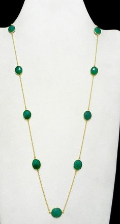 Vintage Brass 18k Gold Vermeil Green Onyx Long Chain Promise Statement Necklace #Handmade #Chain