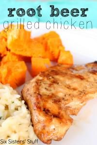 Six Sisters Marinated Root Beer Grilled Chicken Recipe.  You will love this tender grilled chicken bursting with flavor!