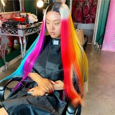 Find images and videos about rainbow, hairstyles hair and 2019 on We Heart It - the app to get lost in what you love. Braided Hairstyles For Black Women Cornrows, Black Girls Hairstyles, Weave Hairstyles, Hairdos, Lace Front Wigs, Lace Wigs, Best Hair Dye, Colored Wigs, Hair Laid