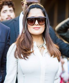 Salma Hayek-Pinault Wows in Futuristic Sunglasses and a LWD at Stella McCartney's PFW Show from InStyle.com