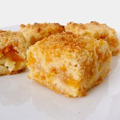 We tried these this weekend! they were great and easy to make Peach Crumb Bars