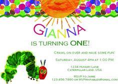 The Very Hungry Caterpillar Themed Custom Printable Birthday Invitation. $10.00, via Etsy.