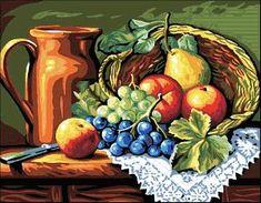 esquema gratis de punto de cruz en formato pdf para bordar bodegón de frutas y jarra