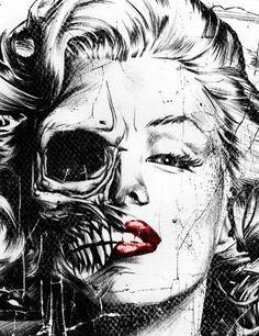Marilyn Monroe half skull face - by Munk One Half Skull Face, Skeleton Face, Mary Monroe, Illustration Arte, Totenkopf Tattoos, Paar Tattoos, Drawn Art, Marilyn Monroe Art, Arte Pop