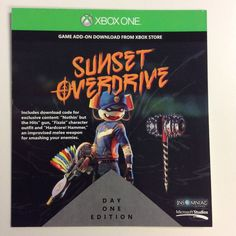 Sunset Overdrive Day One add on DLC Code - XBOX ONE 2 weapons & 1 outfit (I only want this if I get the game too)
