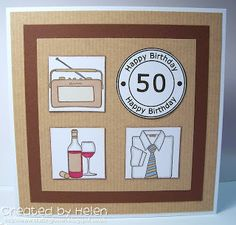 Made by Helen: New Cardz 4 Guyz Challenge - Numbered Birthday Men's Cards, Boy Cards, Small Boy, Big Boys, Happy 50th Birthday, Birthday Cards, Challenge Cards, Handmade Cards, Squares