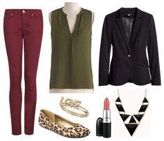Olive green pants, sheer maroon top, black blazer, high black heels, gold earrings, leopard purse