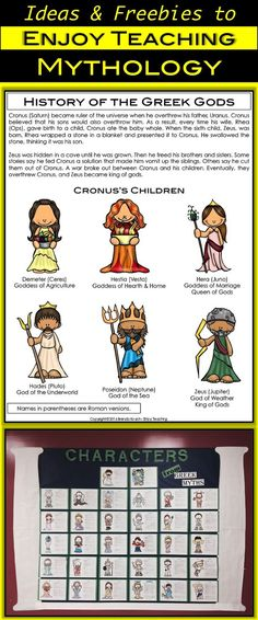 Myths make learning fun! Grab this free infographic at http://Enjoy-Teaching.com. Then do some mythology research to create a colorful display in your classroom. Visit weekly for activities, ideas, and links for third, fourth, or fifth grade students.