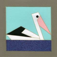 Pelican from a quilt pattern by Margaret Rolfe. Adapted for Paper Quilting by Michaela Laurie of Paper Quilt Creations. Paper Quilt, Quilt Patterns, Projects To Try, Quilting, Symbols, Sewing, Art, Art Background, Dressmaking