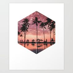 Sunset Palms Art Print - Inspirational Nature Wall Art, Paradise Ocean Beach Geometric Photography Art, Printable Landscape Trees Poster  Sunset Palms. This eye-catching design will make anybody pause for a second and reflect.  Art & Collectibles, Prints, Digital Prints, digital art print, printable wall art, quote poster print, canvas quote art, inspirational art, landscape poster, beautiful nature art, geometric shapes art, sacred geometry art, beach art print, sunset poster print