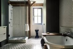 Barn Living: Master bathroom in a 19th century Barn in Hudson Valley