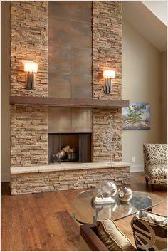 modern stone fireplace wall ideas - Google Search