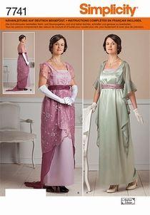 Simplicity Schnittmuster 7741-HH Kleid im Belle Epoque-Stil  Größe HH (32-38)