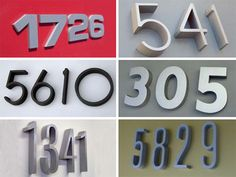 These above are from West On Letters, and their products are moderately priced. Another vendor is Accurate Images, Inc., who has some really cool color choices, including solid colors and bronzes in addition to having a huge font selection Mid Century Modern Door, Mid Century Modern Design, Door Numbers, House Numbers, Home Upgrades, Home Reno, Types Of Houses, Exterior Paint, House Painting