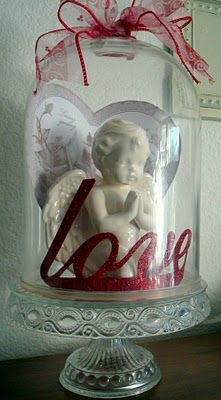 Angel love--Blessing Box Angel, Find heart and have sequin word. Good for dining room buffet.
