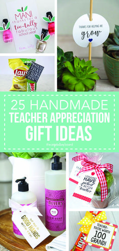 25 Handmade Gift Ideas for Teacher Appreciation…the perfect way to let those special teachers know how important they are in the lives of your children! Easy Crafts For Kids, Craft Activities For Kids, Summer Crafts, Easy Teacher Gifts, Teacher Appreciation Gifts, Thanks Teacher, Get Well Gifts, Back To School Gifts, Craft Corner