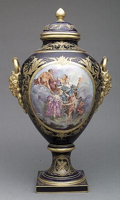 """Sevres"" Porcelain Garniture Vase in the Louis XVI Taste, late 19th/early 20th c."