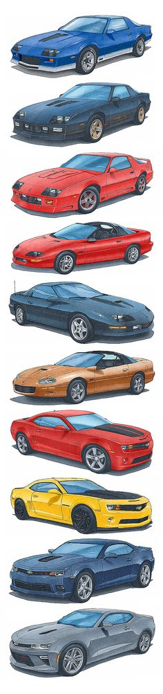 The most powerful Camaro Z28 and SS from 1982 to 2016.  Artwork by Alain Lemire                                                                                                                                                     More