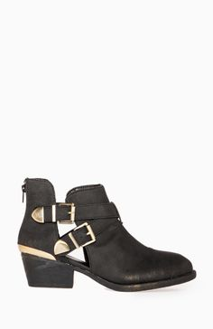Metallic Cutout Ankle Boots