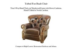 Tufted Fan back Chair Casco Bay, Tufted Chair, Leather Furniture, Restoration Hardware, Seat Cushions, Craftsman, Hardwood, Fan, Frames