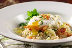 Leek and Pancetta Ristotto with Poached Egg