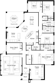 If you're after the most stylish single storey house plans in Perth, then The Rosewood from Ross North is the house for you. Dream House Plans, Modern House Plans, House Floor Plans, My Dream Home, Dream Homes, Study Bed, Single Storey House Plans, Hidden Pictures, Storey Homes