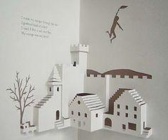 Pop up hus Kirigami Templates, Origami And Kirigami, Origami Paper, Origami Cranes, Arte Pop Up, Pop Up Art, Paper Snowflake Designs, Libros Pop-up, Tarjetas Pop Up
