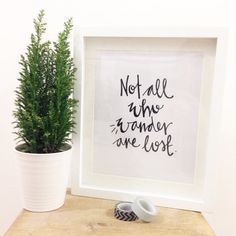 not all who wander are lost  hand lettered by linseymouse on Etsy