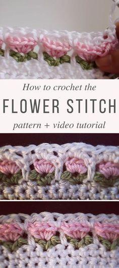 Flower Stitch crochet pattern and video tutorial . Flower Stitch crochet pattern and video tutorial Beau Crochet, Stitch Crochet, Crochet Motifs, Crochet Borders, Crochet Stitches Patterns, Crochet Baby, Stitch Patterns, Knitting Patterns, Afghan Patterns