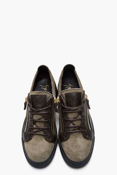 GIUSEPPE ZANOTTI Chocolate leather and olive suede low-top London sneakers