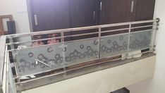 Balcony Glass Design, Balcony Railing Design, Stair Railing, Railings, Stairs, Steel Grill Design, Glass Doors, Storage, Interior