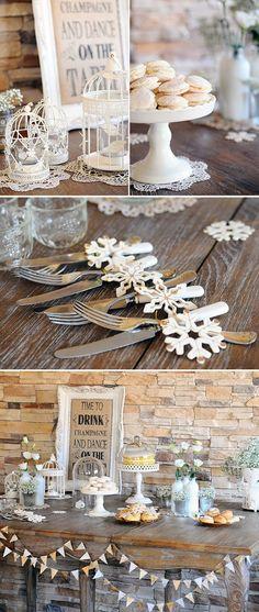 tischdekoration hochzeit blumendeko schneekristallen papier vogelkäfige windlichter