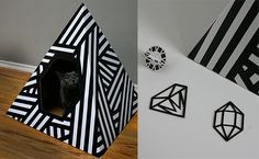 Here's the perfect little hideaway to give kitty a place to relax and rejuvenate. It's the brand new Energy Pyramid from Love Thy Beast. This cool modern pyramid is made from corrugated cardboard printed with a bold black and white design using soy based inks. It has an acrylic coating so you can easily wipe it clean.…