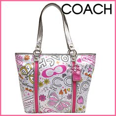 NWOT Authentic Rare Coach Butterfly Tote New, never been used, pristine condition without tags. Cheap Coach Bags, Coach Poppy, Coach Handbags, Coach Purses, Metallic Leather, Leather Handle, Women Accessories, Branding Design, Butterfly